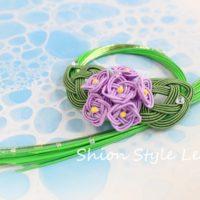 水引で作る紫陽花のリース飾り