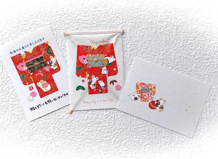 千代紙キモノコラージュで年賀状作り