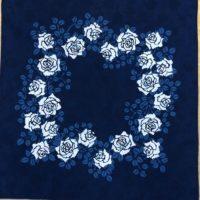 藍の型染ハンカチ