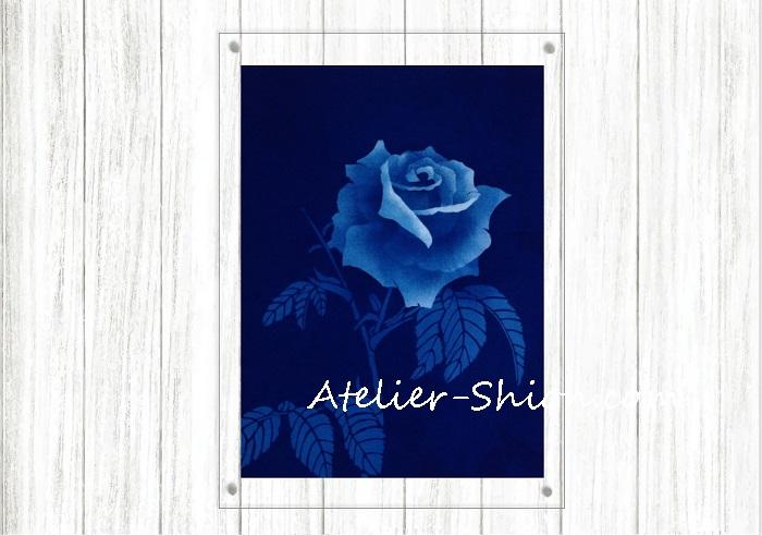藍染アクリル額「ばら一輪」