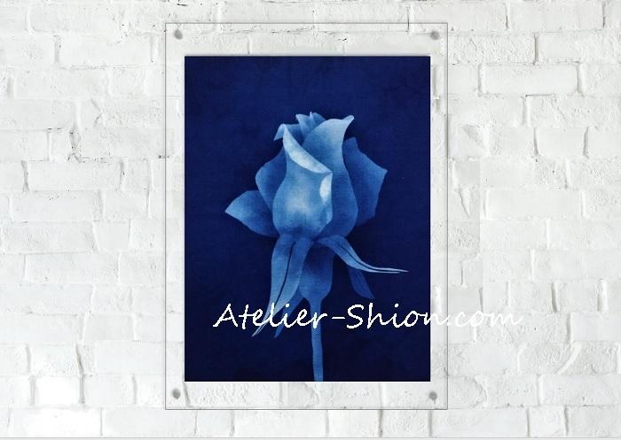 藍染アクリル額「つぼみ」
