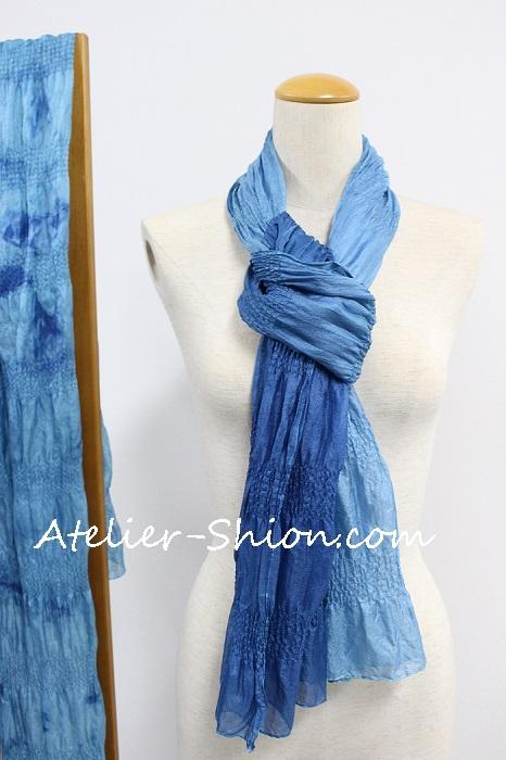 藍染ストール シルクギャザー