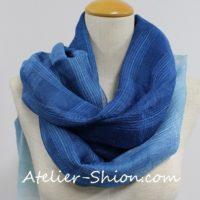 藍染スカーフ シルク紗