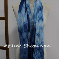 藍染シルクストール ジャガード流水