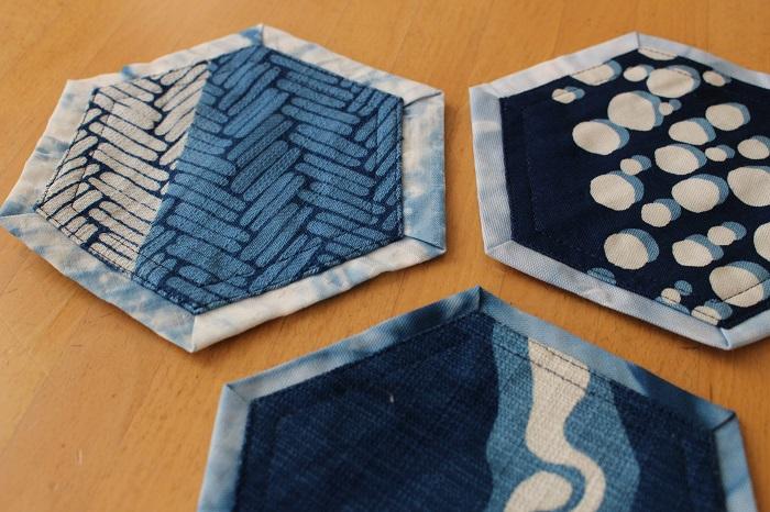 藍染リバーシブルコースター:六角