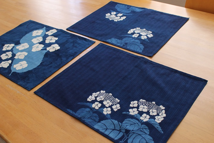 紫陽花の藍染ランチョンマット