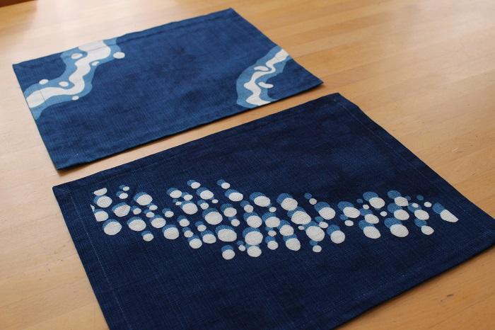 藍染リバーシブルティーマット(抽象柄)