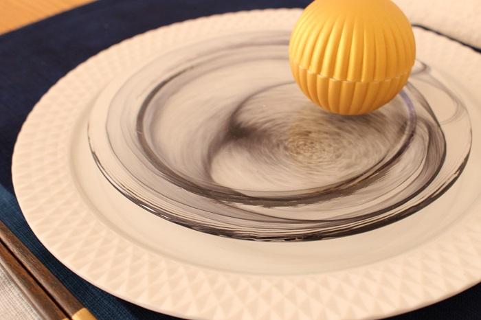 墨流し ガラス皿(墨・雲竜)