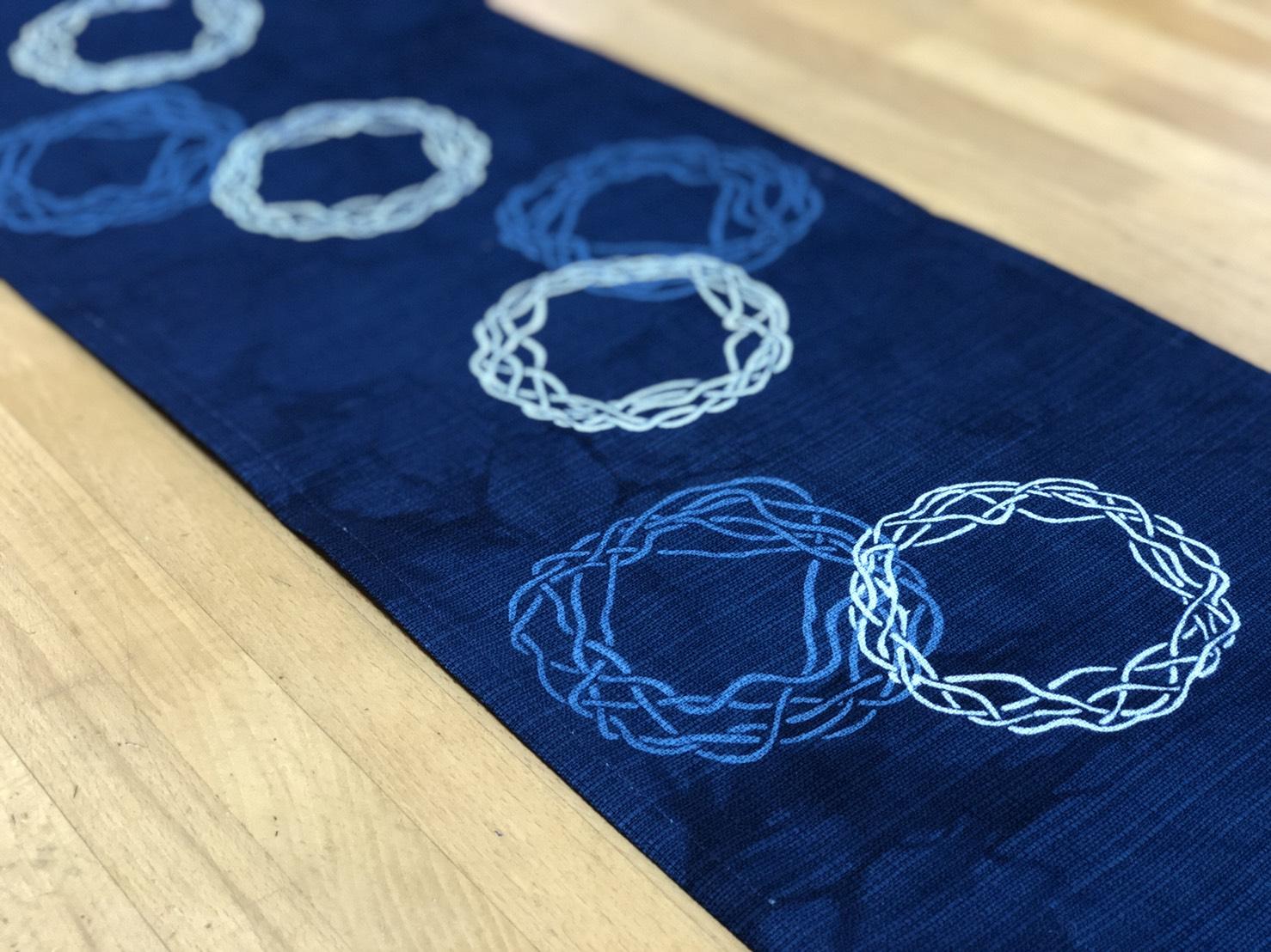 藍染テーブルランナー「ミニバスケット」