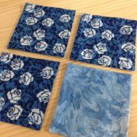 藍染リバーシブルコースター(つるバラ)