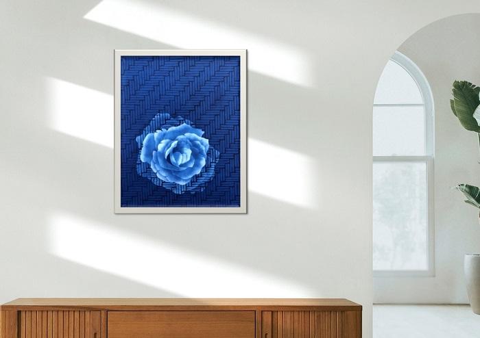 藍染オリジナル額「網代に咲く」