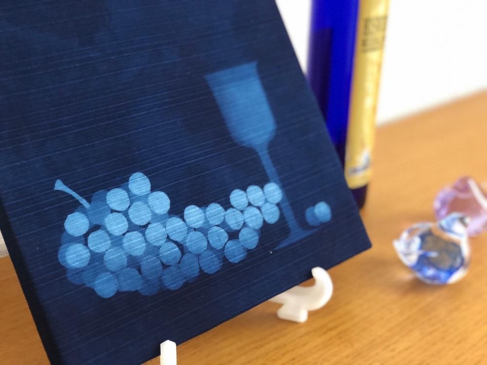 藍染ファブリックパネル「今宵はワインで」