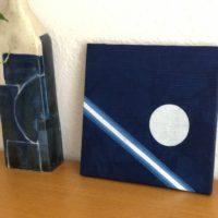 藍染ファブリックパネル「丸と線」